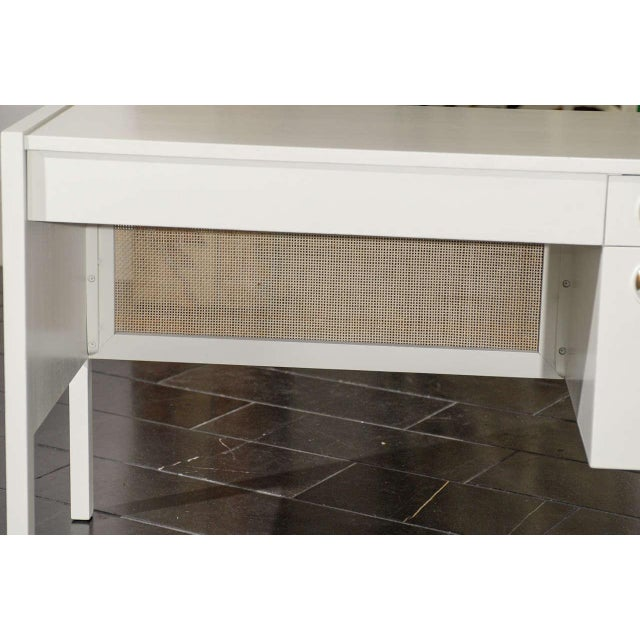 Gold Beautiful Landstrom Modern Desk in Cream Lacquer For Sale - Image 8 of 11