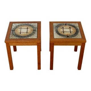 1960s Modern Square Teak Tile Side End Tables Denmark - a Pair For Sale