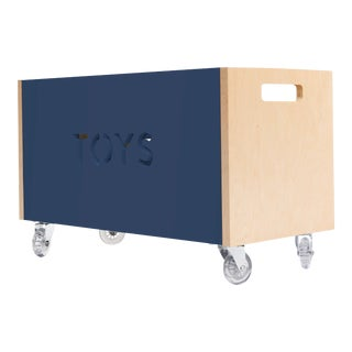 Toy Box Chest on Casters in Birch With Deep Blue Finish For Sale