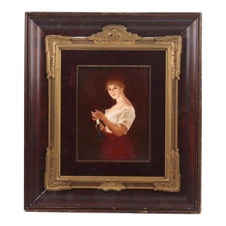 Antique Hand Painted KPM Style Porcelain Plaque Gute Nacht For Sale