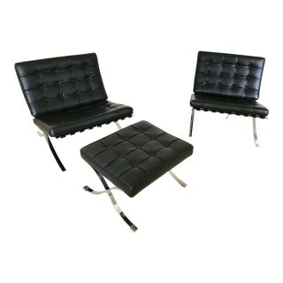 Mid-Century Modern Barcelona Chairs and Ottoman Set For Sale