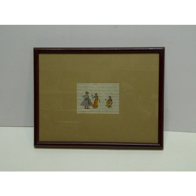 """Mid 20th Century Original Hand-Colored """"Indian Man & 2 Women"""" Framed and Matted Print For Sale - Image 5 of 5"""