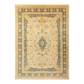 """Mogul, One-Of-A-Kind Hand-Knotted Area Rug - Ivory, 10' 0"""" X 13' 10"""" For Sale"""