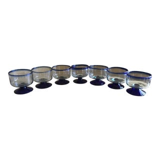 Mexican Cobalt Blue Stemmed Glasses - Set of 7 For Sale