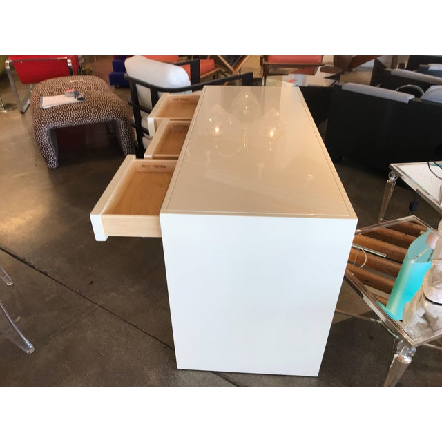Nancy Corzine Ivory Lacquer Three-Drawer Desk For Sale In Palm Springs - Image 6 of 8