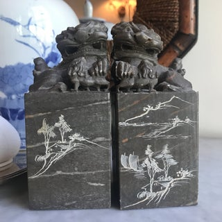 Carved Stone Foo Dogs - a Pair Preview