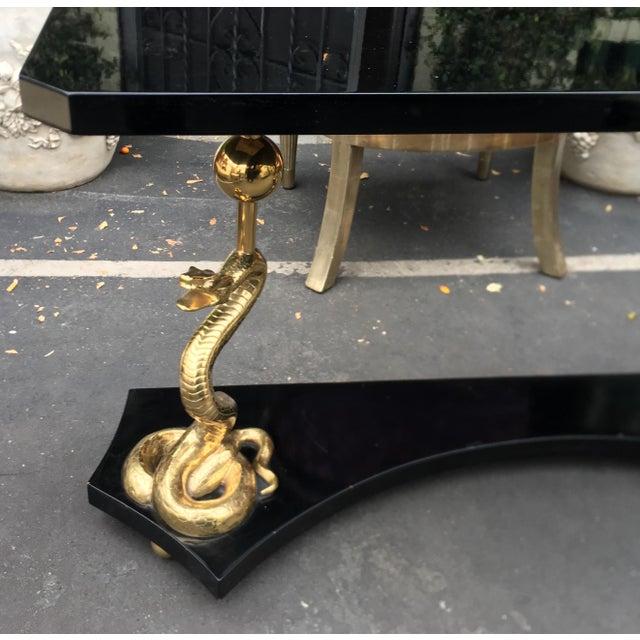 Elegant Designer Console Table With Bronze Cobra Base & Black Marble Top For Sale - Image 9 of 10