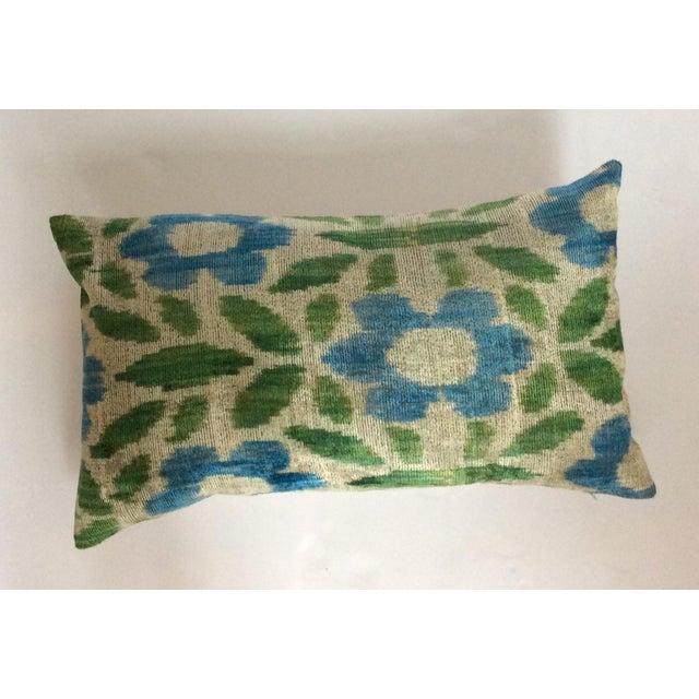 Green & Blue Silk & Velvet Turkish Ikat Pillow - Image 2 of 5