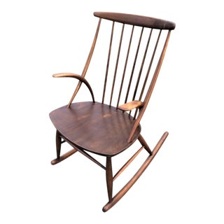 Mid-Century Illum Wikkelso Danish Modern Rocking Chair For Sale