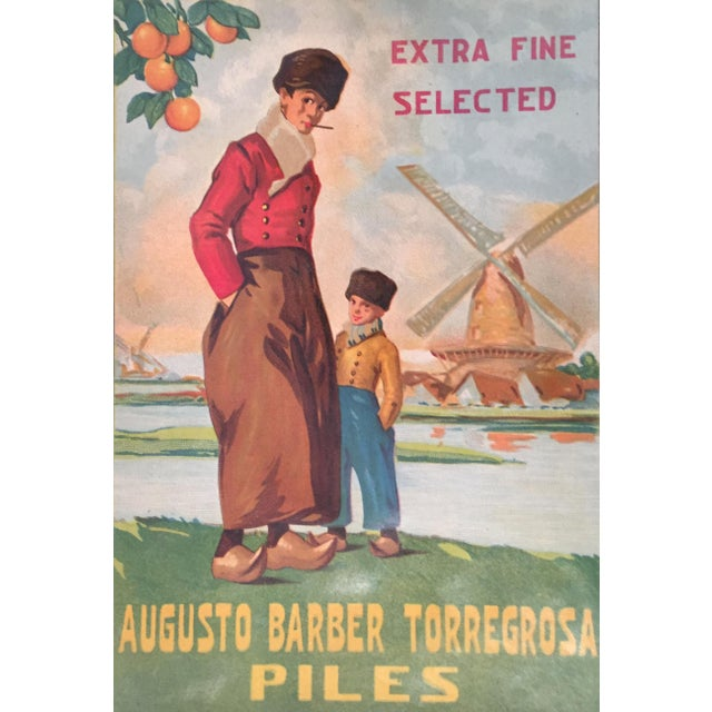 Mediterranean 1930s Vintage Spanish Label, Windmill For Sale - Image 3 of 3