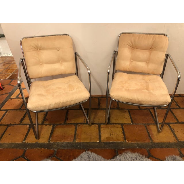 Milo Baughman Style Mid Century Modern Ultra Suede and Chrome Club Chairs- a Pair For Sale - Image 10 of 10