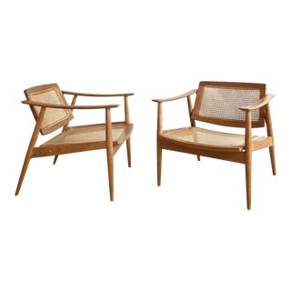 Mid-Century Natural Danish Caned Chairs- a Pair For Sale