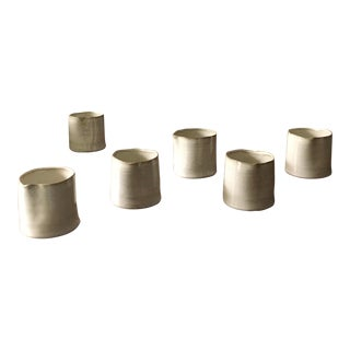 Organic Modern Ceramic Cachepots-Set of 6 For Sale