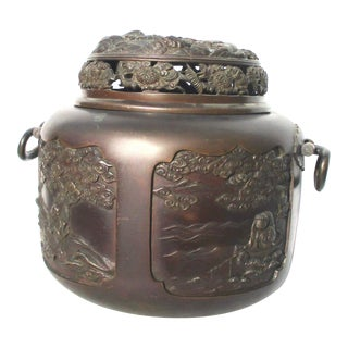 Japanese Meiji Bronze Habachi For Sale