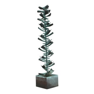 1970s Vintage Brutalist Metal Fountain Tree Sculpture by Silas Seandel For Sale