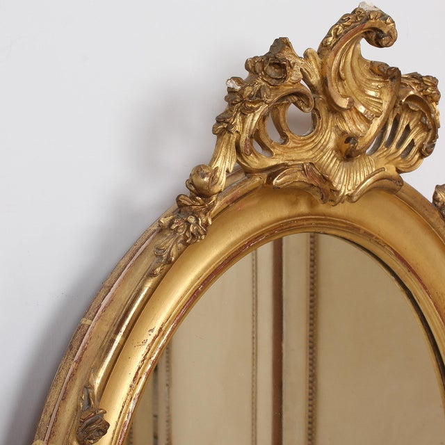 French Louis XV Style Giltwood Oval Mirror For Sale - Image 4 of 11