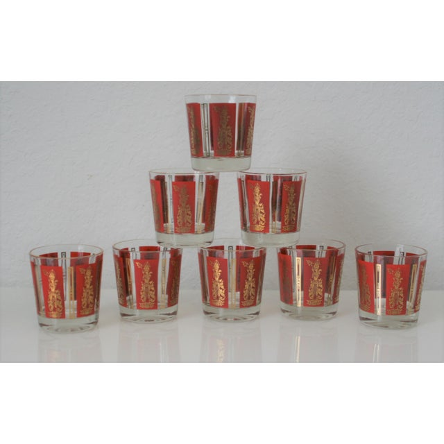 Hollywood Regency Mid-Century Red & Gold Mandalay Thai Goddess Rock Glasses - Set of 8 For Sale - Image 3 of 7