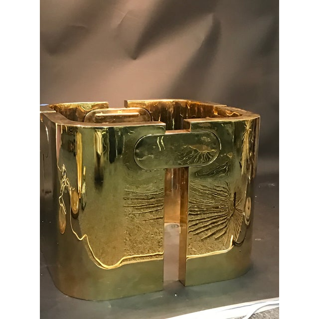 Italian AMAZING GOLDEN BRONZE MODERNIST PUZZLE TABLE For Sale - Image 3 of 11