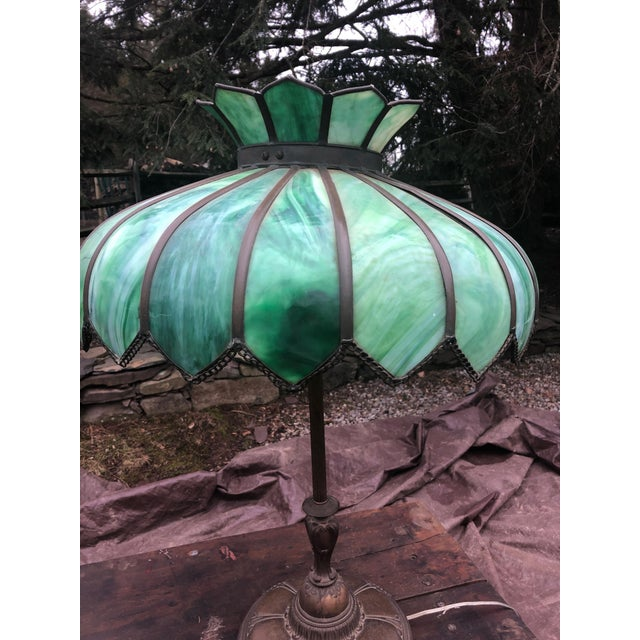 Vintage Green Leaded Glass and Brass Large Table Lamp For Sale - Image 4 of 11