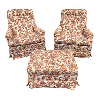 1970s Floral Upholstered Swivel Chairs and Ottoman Set by Woodmark Originals For Sale