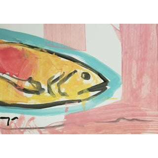 Expressionism Primitivism Fish Acrylic Painting by Jose Trujillo For Sale