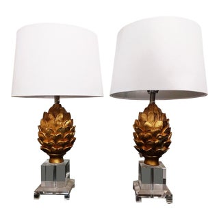 Brass & Lucite Pineapple Table Lamps - A Pair For Sale