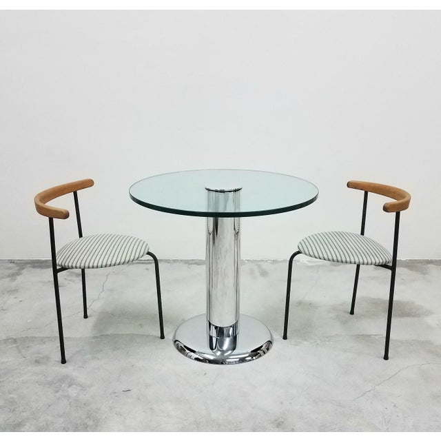 Mid-Century Modern Vintage Round Chrome and Glass Center Table For Sale - Image 3 of 7