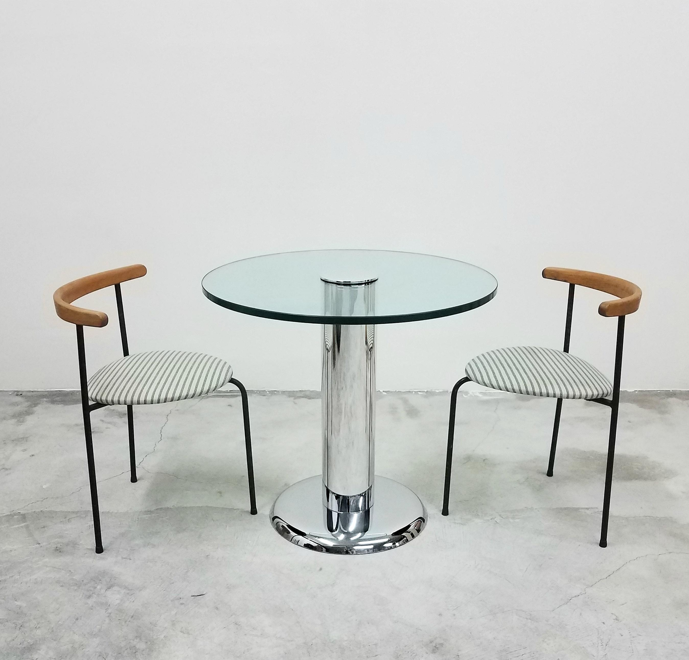 Contemporary Vintage Round Chrome And Glass Center Table For Sale   Image 3  Of 7