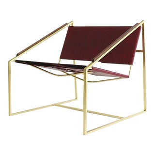 Lz1 Brass & Leather Lounge Chair by Fluxco Design For Sale