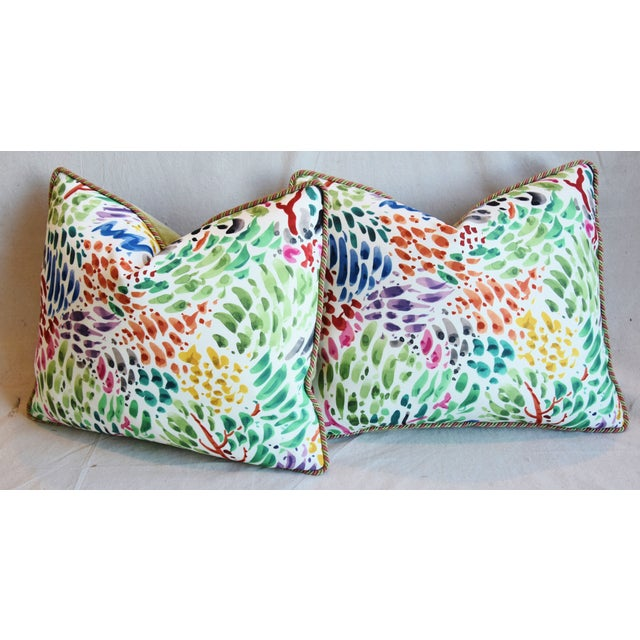 """Clarence House Fabric and Scalamandre Mohair Feather/Down Pillows 23"""" X 19"""" - Pair For Sale - Image 9 of 13"""