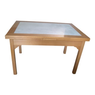 Carerra Marble Top Toscana Beech Table For Sale