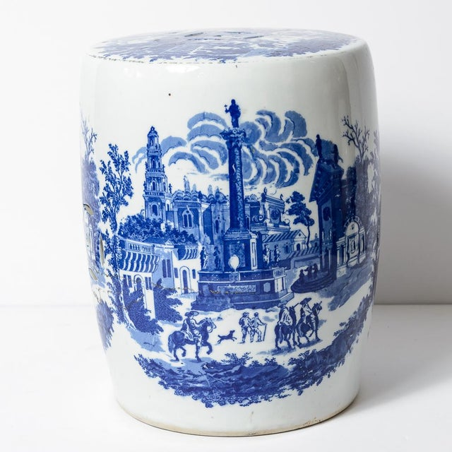 Charming vintage Blue & White Ceramic garden stool. Lovely transfer ware in blue again a White background. No chips or...