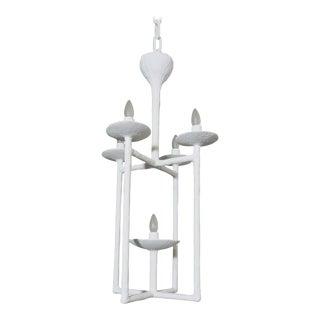 Plaster Lantern White Finish Chandelier by Apsara Interior For Sale