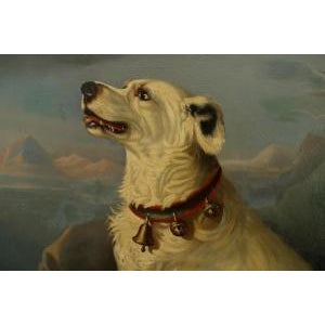 19th Century American Country Ebonized Framed Oil Painting of Seated White Dog at Overlook For Sale - Image 4 of 5
