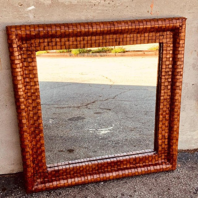 Modern French Modern Woven Leather Mirror For Sale - Image 3 of 7