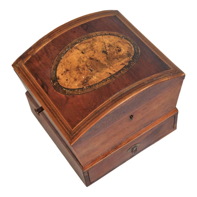 Circa 1820 English Georgian Style Mahogany and Satinwood Casket For Sale