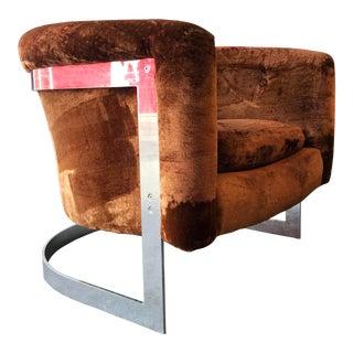 Vintage Modern Milo Baughman Chrome Cantilevered Barrel Lounge Chair For Sale