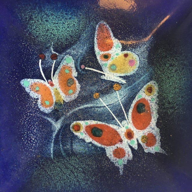 Mid-Century Modern Mid Century Enamel on Copper Dish Butterflies For Sale - Image 3 of 4