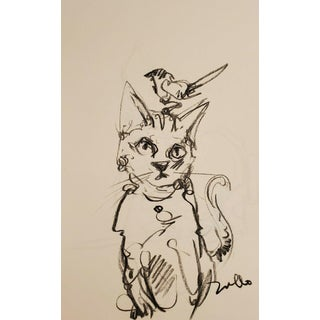 Jose Trujillo - Original Charcoal Paper Sketch Drawing 11x17 Cat With Bird Art For Sale