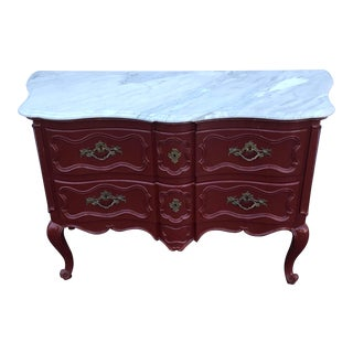 Baker Marble Topped Painted Chippendale Dresser of Drawers For Sale