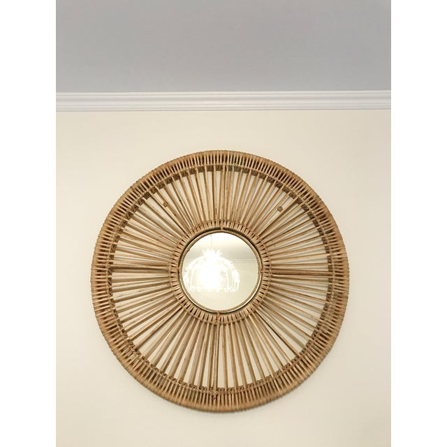 Round Rattan Mirror For Sale - Image 5 of 5