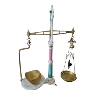 Late 19th Century English Mercantile Apothecary/Candy Brass & Porcelain Scales For Sale
