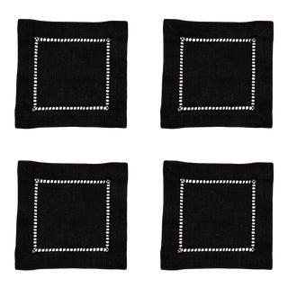 Black Ladder Stitch Cocktail Napkins - Set of 4 For Sale