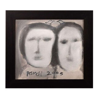 The Sisters Contemporary Abstract Figural Painting, Oil on Canvas For Sale