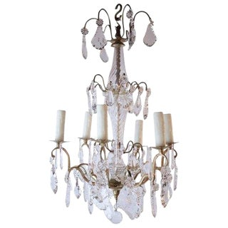 Early 20th Century Antique French Six Light Gilded Bronze and Crystal Chandelier For Sale