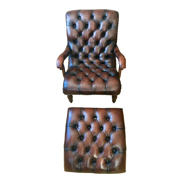 Leather Brown Chair & Foot Stool - Image 1 of 5