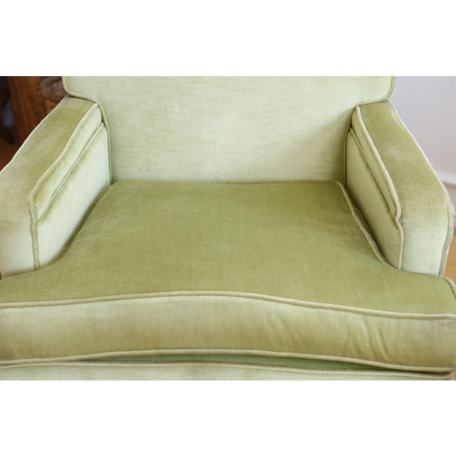 Mid-Century Modern Green Velvet Club Chairs - A Pair - Image 6 of 9