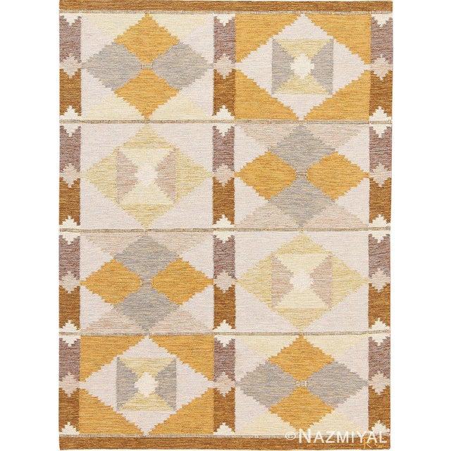 A Highly Artistic Vintage Swedish Scandinavian Carpet by Rakel Callander, Country Origin: Scandinavia, Circa: Mid-20th...
