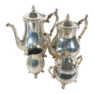 Vintage Mid-Century Silver Plated William Rodgers Tea and Coffee Set - 4 Pieces For Sale