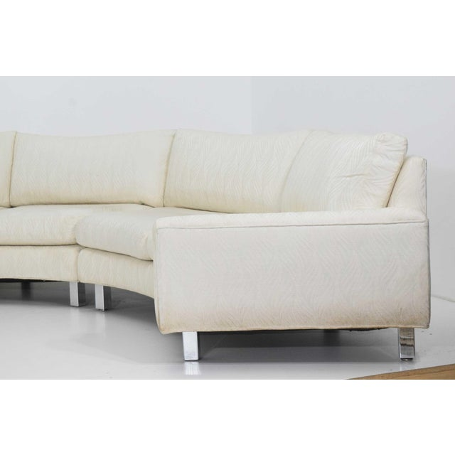 Silver Large Milo Baughman White Upholstered Four Section Circular Sofa For Sale - Image 8 of 13